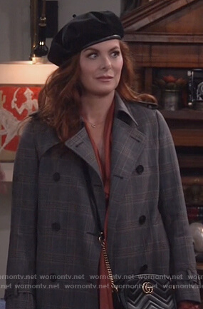 Grace's plaid trench coat and Gucci bag on Will and Grace