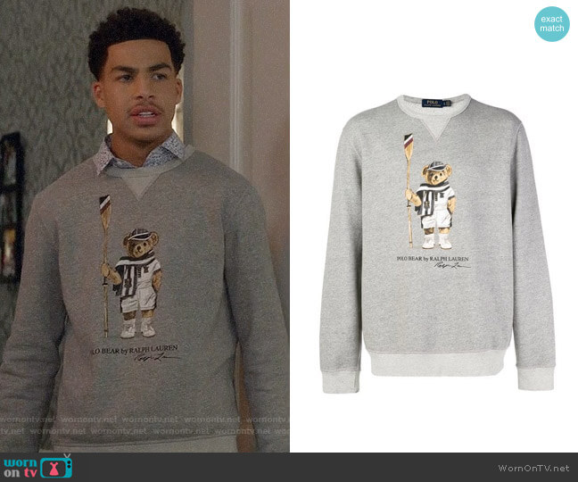 Polo Ralph Lauren Logo Bear Print Sweater worn by Andre Johnson Jr (Marcus Scribner) on Blackish