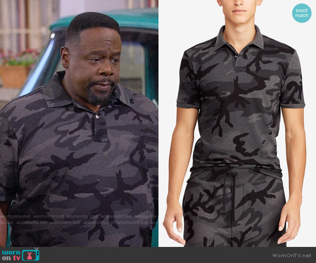 Polo Ralph Lauren Big & Tall Classic Fit Camouflage Mesh Polo worn by Calvin (Cedric The Entertainer) on The Neighborhood