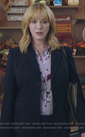 Beth's violet floral print blouse on Good Girls