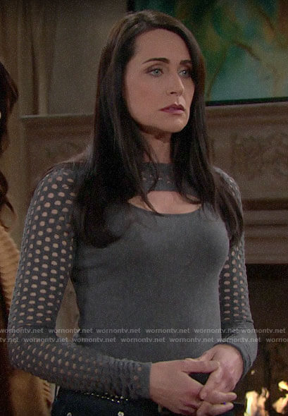 Quinn's grey eyelet cutout sweater on The Bold and the Beautiful