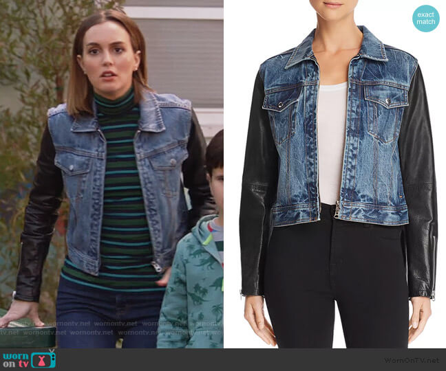 Nico Denim & Leather Jacket by Rag & Bone worn by Angie (Leighton Meester) on Single Parents