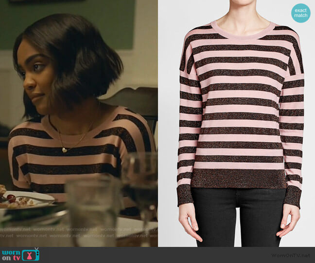Striped Metallic Pullover by Rag & Bone worn by Jennifer Pierce (China Anne McClain) on Black Lightning
