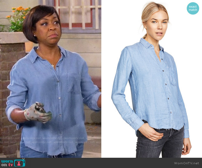 Rails Ingrid Raw Button Down Shirt worn by Tina (Tichina Arnold) on The Neighborhood