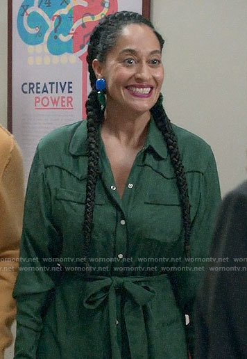 Bo's green shirtdress on Black-ish