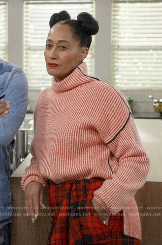 Bo's coral ribbed sweater and plaid pants on Black-ish