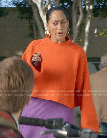Bo's orange cropped sweater and purple skirt on Black-ish
