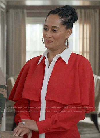 Bo's red cape sleeve blouse on Black-ish