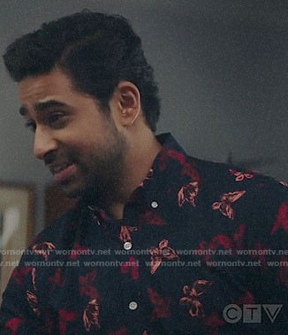 Rakesh's butterfly print shirt on God Friended Me