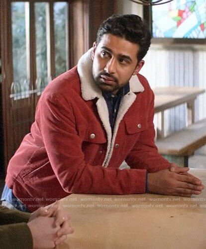 Rakesh's red corduroy jacket with fleece collar on God Friended Me