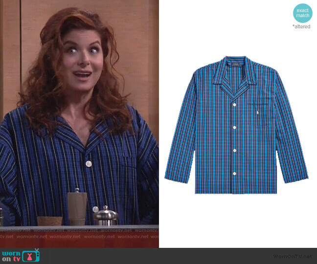 Harwich Plaid Pajama Shirt by Ralph Lauren worn by Grace Adler (Debra Messing) on Will & Grace