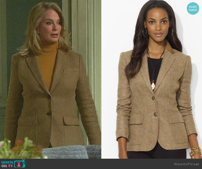 LAUREN Ralph Lauren Suede-Trim Herringbone Blazer worn by Marlena Evans (Deidre Hall) on Days of our Lives