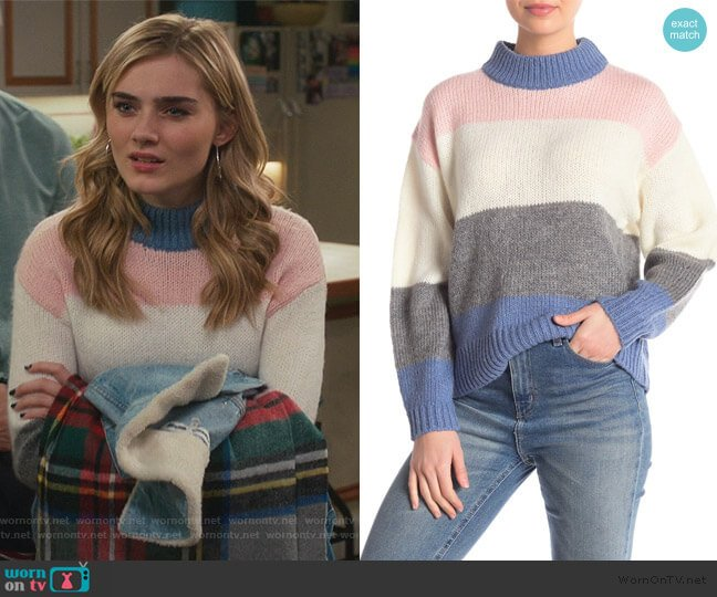 Kendall Stripe Sweater by Rebecca Minkoff worn by Taylor Otto (Meg Donnelly) on American Housewife