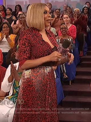 Wendy's red leopard top and skirt on The Wendy Williams Show