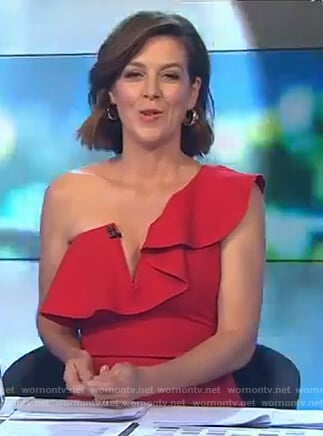 Gorgi's red ruffled one shoulder dress on The Talk