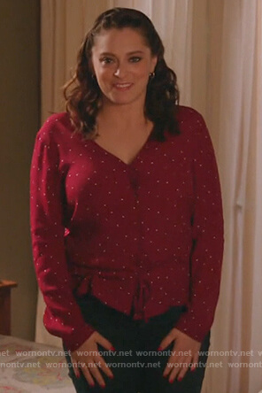 Rebecca's red polka dot top on Crazy Ex Girlfriend