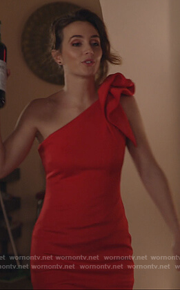 Angie's red ruffle shoulder gown on Single Parents