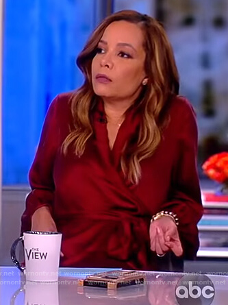 Sunny's red satin wrap dress on The View