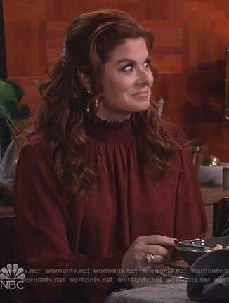 Grace's red smocked blouse on Will and Grace
