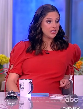 Abby's red tie sleeve dress on The View