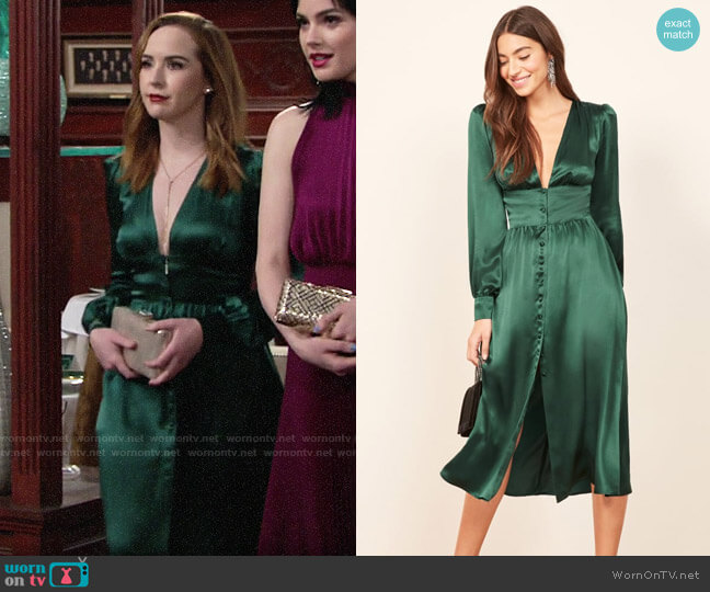 Reformation Nicola Dress worn by Mariah Copeland (Camryn Grimes) on The Young & the Restless