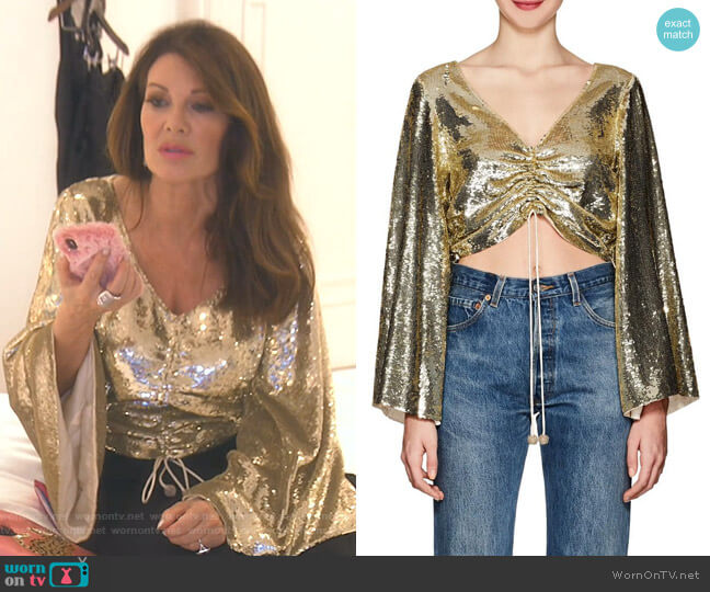 Angela Top by Retroféte worn by Lisa Vanderpump  on The Real Housewives of Beverly Hills
