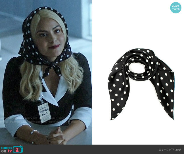 Review Dotty Dot Silk Scarf worn by Veronica Lodge (Camila Mendes) on Riverdale