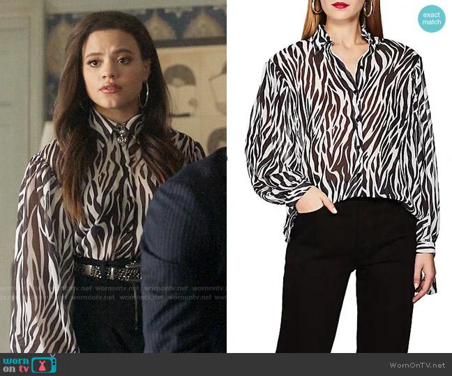 Robert Rodriguez Zebra-Print Georgette Blouse worn by Maggie Vera (Sarah Jeffery) on Charmed