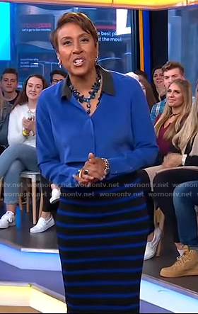 Robin's blue and black striped skirt on Good Morning America