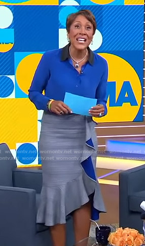 Robin's grey plaid ruffled skirt on Good Morning America
