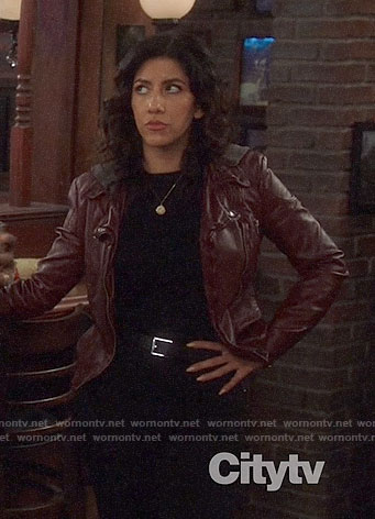 Rosa's dark red leather jacket with hood on Brooklyn Nine-Nine
