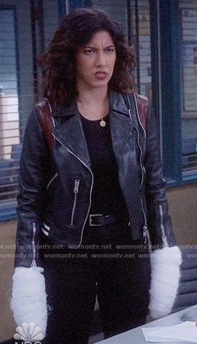 Rosa's leather jacket with red panels on Brooklyn Nine-Nine