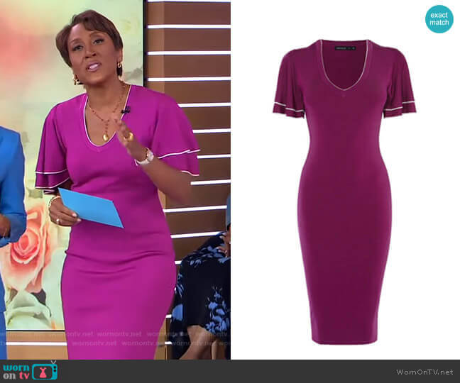 Knitted Midi Dress by Karen Millen worn by Robin Roberts  on Good Morning America