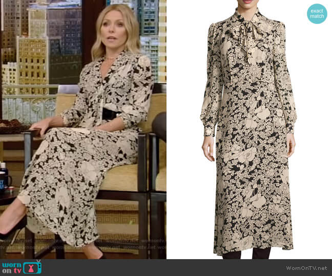 Long-Sleeve Tie-Neck Floral-Print Shirtdress by Saint Laurent worn by Kelly Ripa (Kelly Ripa) on Live with Kelly & Ryan