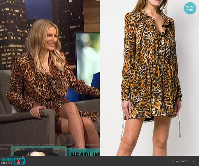 Leopard Print Silk Dress by Saint Laurent worn by Morgan Stewart  on E! News
