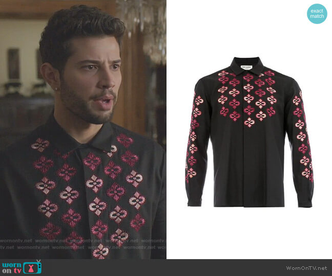 Russian Embroideries Shirt by Saint Laurent worn by Sam Flores (Rafael de la Fuente) on Dynasty