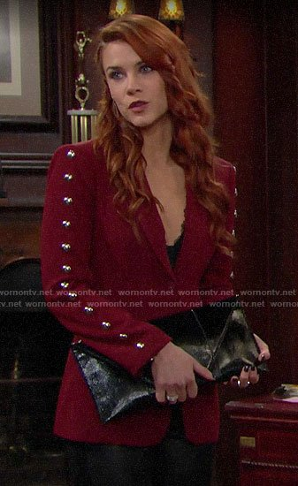 Sally's red studded blazer on The Bold and the Beautiful