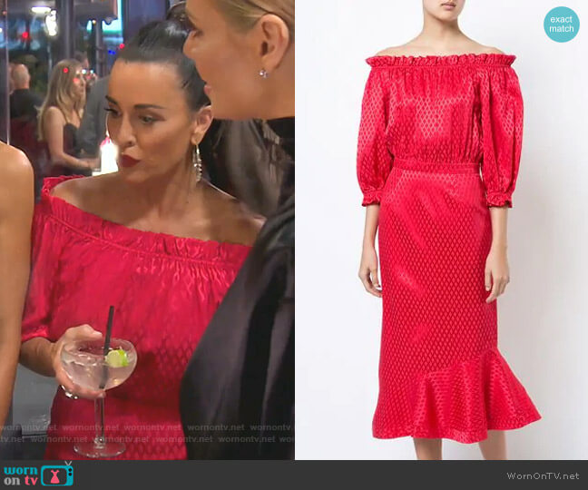 Ruffle Off-Shoulder Dress by Saloni worn by Kyle Richards  on The Real Housewives of Beverly Hills
