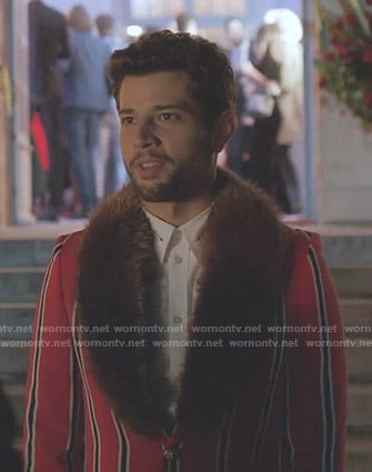 Sam's red striped coat with fur collar on Dynasty