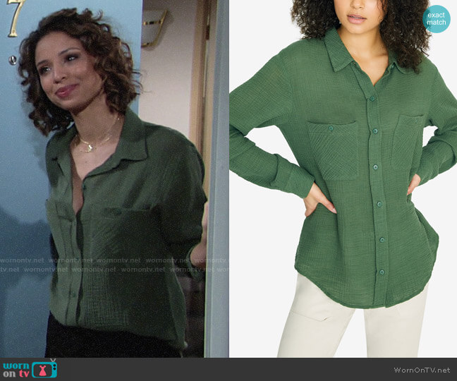 Sanctuary Steady Boyfriend Shirt worn by Elena Dawson (Brytni Sarpy) on The Young & the Restless