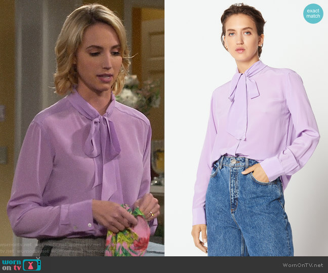 Sandro Silk Shirt with Bow Collar in Lilac worn by Mandy Baxter (Molly McCook) on Last Man Standing