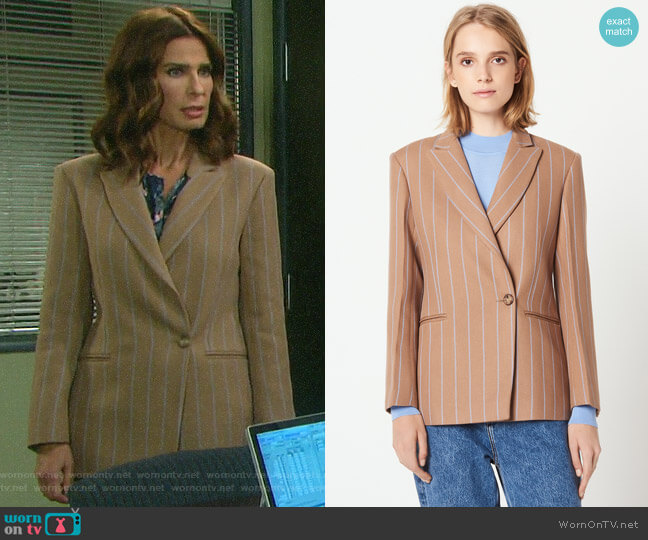 Sandro Striped Tailored Jacket worn by Hope Williams (Kristian Alfonso) on Days of our Lives