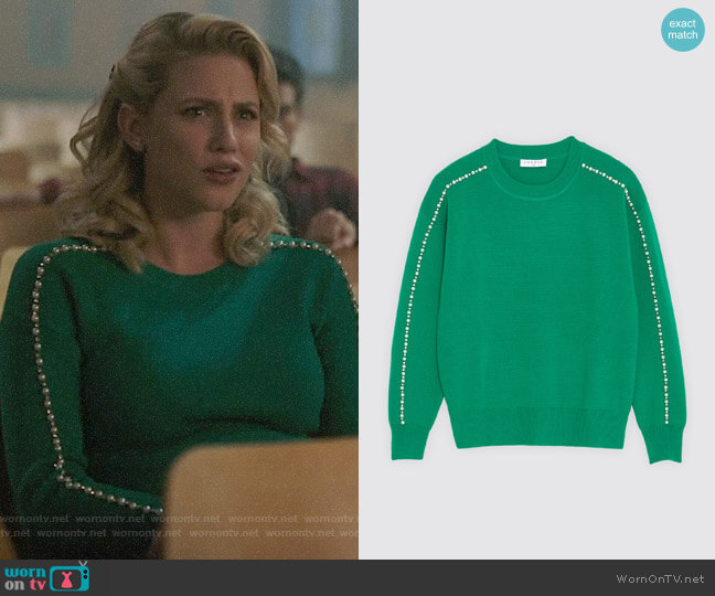 Sandro Sweater with Beads worn by Betty Cooper (Lili Reinhart) on Riverdale