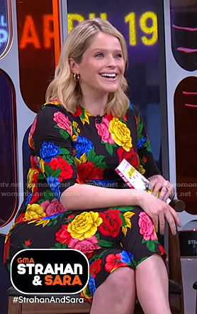 Sara's black floral print dress on GMA Strahan And Sara