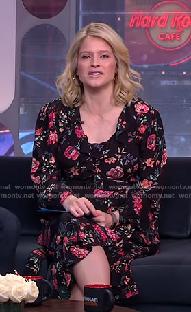 Sara's black floral wrap dress on GMA Strahan And Sara