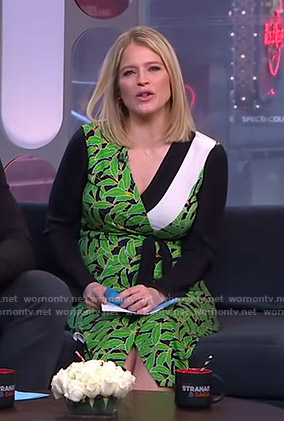 Sara's black leaf print wrap dress on GMA Strahan And Sara