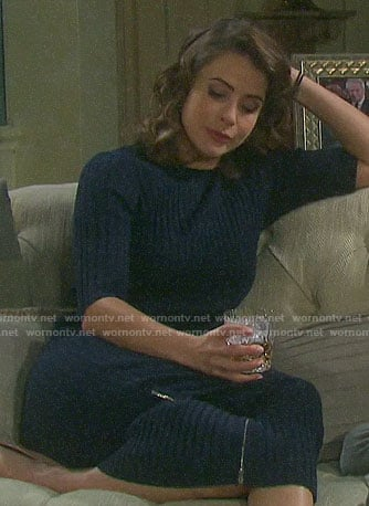 Sarah's navy ribbed midi dress on Days of our Lives