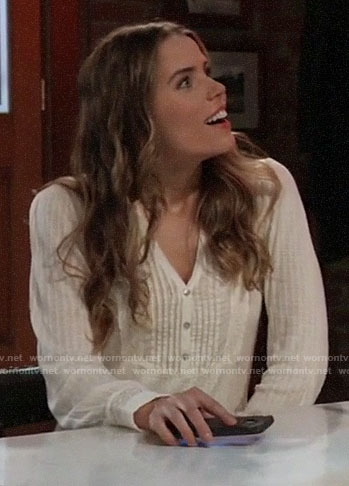Sasha's white pintuck top on General Hospital