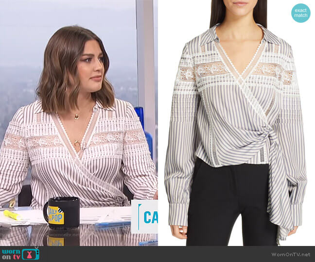 Lace Trim Stripe Wrap Top by Self Portrait worn by Carissa Loethen Culiner  on E! News