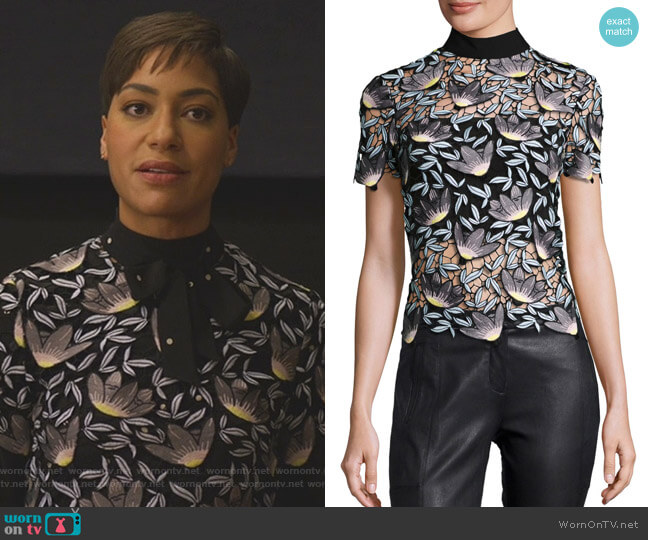 Peony Top by Self Portrait worn by Lucca Quinn (Cush Jumbo) on The Good Fight
